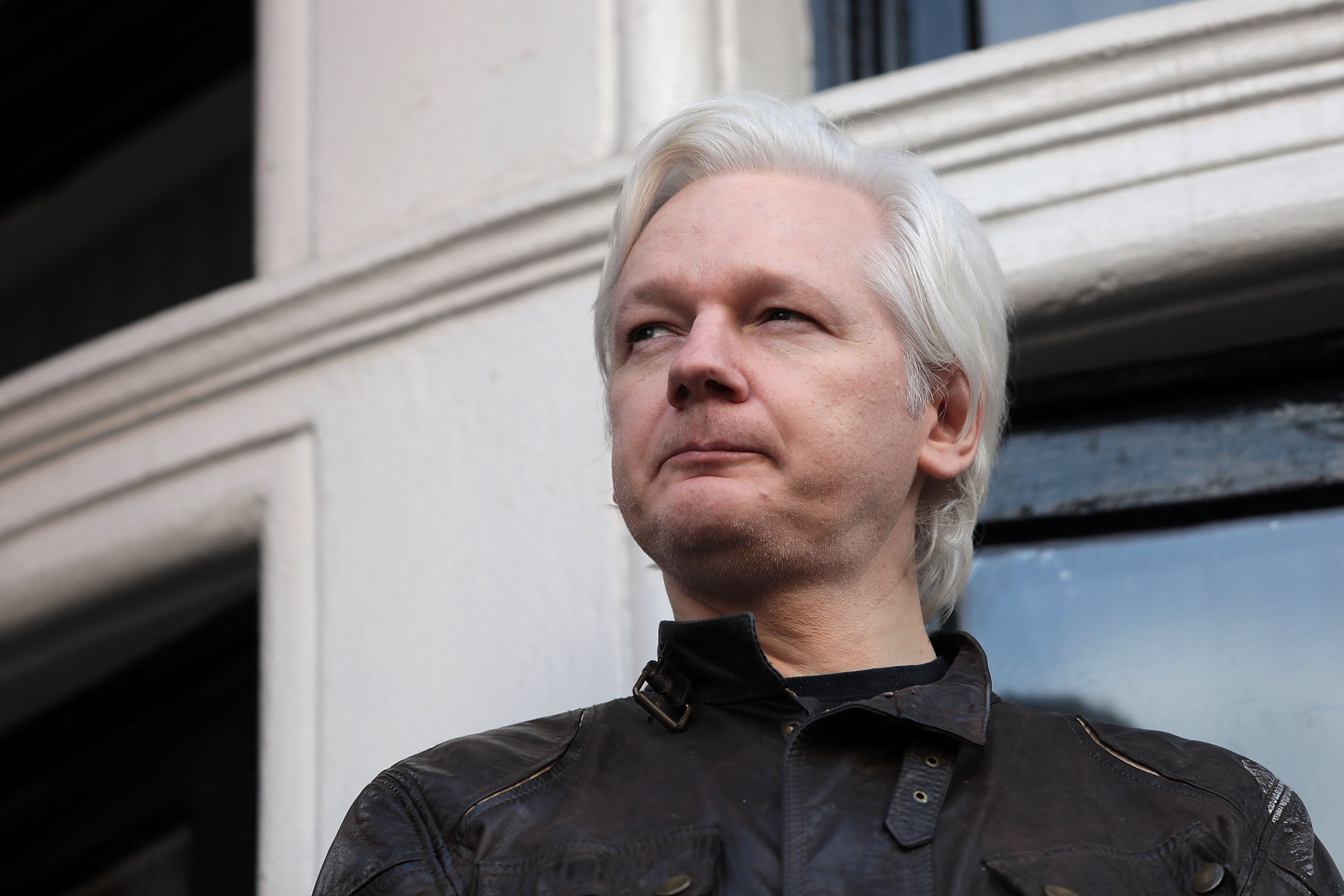 at Embassy Of Ecuador on May 19, 2017 in London, England.  Julian Assange, founder of the Wikileaks website that published US Government secrets, has been wanted in Sweden on charges of rape since 2012.  He sought asylum in the Ecuadorian Embassy in London and today police have said he will still face arrest if he leaves.