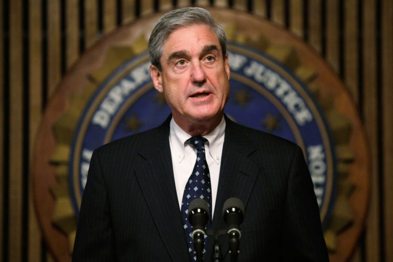 WASHINGTON - JUNE 25:  FBI Director Robert Mueller speaks during a news conference at the FBI headquarters June 25, 2008 in Washington, DC. The news conference was to mark the 5th anniversary of Innocence Lost initiative.  (Photo by Alex Wong/Getty Images)