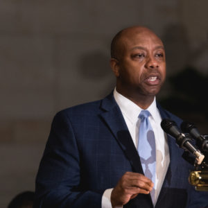 Senator Tim Scott (R-SC), speaks at the Commemoration of the Bicentennial of the Birth of Frederick Douglass, in Emancipation Hall of the U.S. Capitol, on Wednesday, Feb. 14, 2018. (Photo by Cheriss May/NurPhoto)
