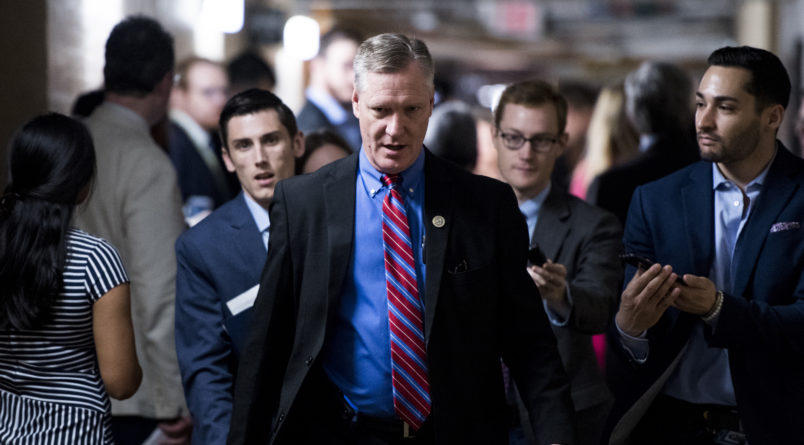UNITED STATES - JUNE 7: Rep. Steve Stivers, R-Ohio, leaves the House Republicans' caucus meeting in the Capitol on immigration reforms on Thursday morning, June 7, 2018. (Photo By Bill Clark/CQ Roll Call)