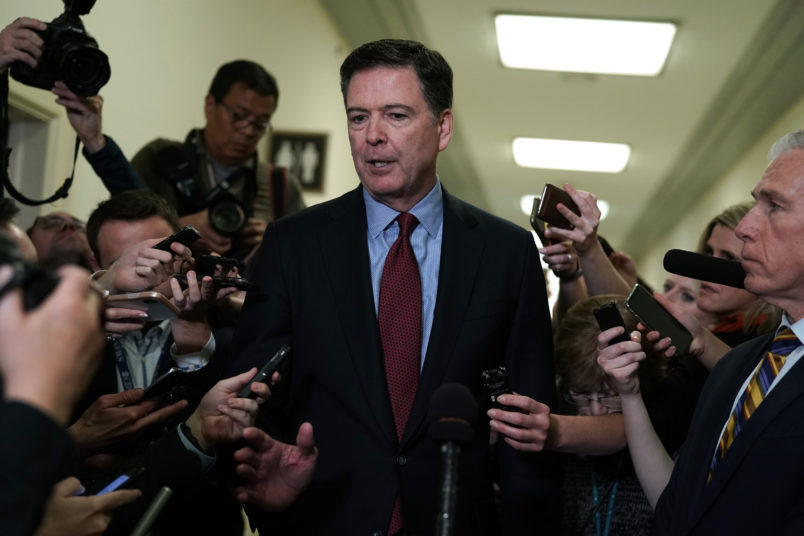 James Comey arrives for closed-door interview with House Republicans