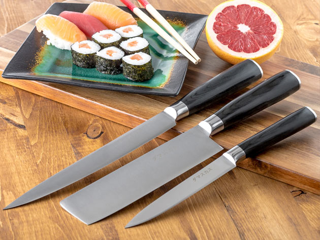 The Damasukasu Japanese 3-Piece Master Chef Hanshu Knife Set are created with the same process developed to make samurai swords.