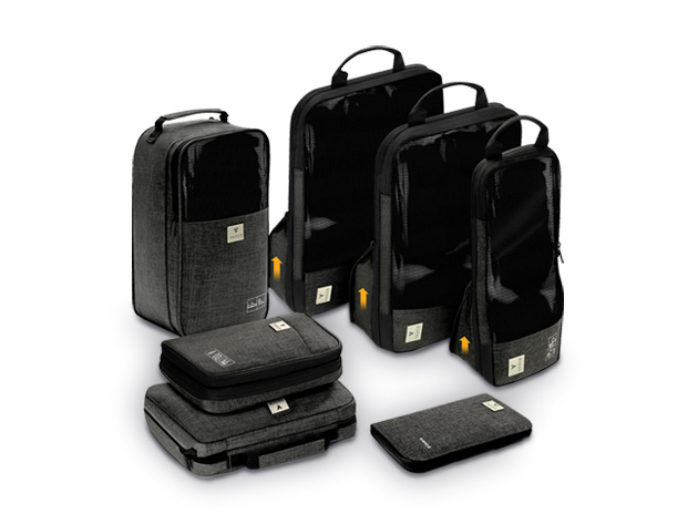 The Vasco 7-Piece Smart Packing Cube Set organizes essentials while saving up to 60% more space in your bag.