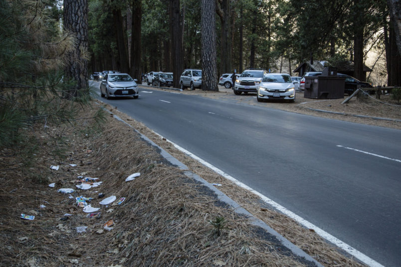 HOLD FOR PERMISSION-In this Monday, Dec. 31, 2018 photo provided by Dakota Snider shows a road lined with trash in Yosemite National Park, Calif. Human feces, overflowing garbage, illegal off-roading and other damaging behavior in fragile areas were beginning to overwhelm some of the West's iconic national parks on Monday, as a partial government shutdown left the areas open to visitors but with little staff on duty.(Dakota Snider via AP)