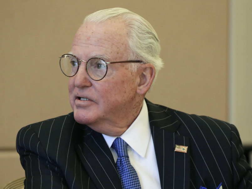 """FILE - In this July 31, 2015 file photo, Chicago Alderman Ed Burke chairs a committee meeting in Chicago. Burke, one of the most powerful City Council members in Chicago history has been charged Thursday, Jan. 3, 2019, in a federal criminal complaint with attempted extortion for """"corruptly soliciting business"""" for his private law firm. (AP Photo/M. Spencer Green File)"""