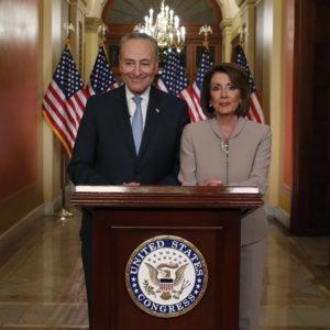 House Speaker Nancy Pelosi of Calif., and Senate Minority Leader Chuck Schumer of N.Y., speak on Capitol Hill in response President Donald Trump's address, Tuesday, Jan. 8, 2019, in Washington. (AP Photo/Alex Brandon)