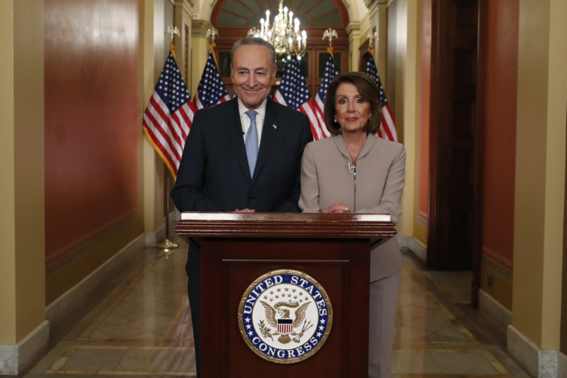House Speaker Nancy Pelosi of Calif., and Senate Minority Leader Chuck Schumer of N.Y., speak on Capitol Hill in response President Donald Trump's address, Tuesday, Jan. 8, 2019, in Washington. (AP Photo/Alex Brandon)
