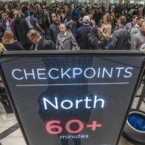 January 14, 2019 Atlanta: Security lines at Hartsfield-Jackson International Airport stretched more than an hour long Monday morning, Jan. 14, 2019 causing travelers to miss flights amid the partial federal shutdown. At a time when the world's busiest airport has its biggest crowds, there were at least six security lanes closed at domestic terminal security checkpoints, while passengers waited in lines that stretched through the terminal and were winding through baggage claim. The long lines signaled staffing shortages at security checkpoints, as TSA officers have been working without pay since the federal shutdown began Dec. 22. Airport officials normally advise travelers to get to the airport two hours before domestic flights, but on Monday morning Hartsfield-Jackson spokesman Andrew Gobeil advised that travelers should consult with their airlines. Travelers may need to get to the airport even earlier due to the long waits. JOHN SPINK/JSPINK@AJC.COM