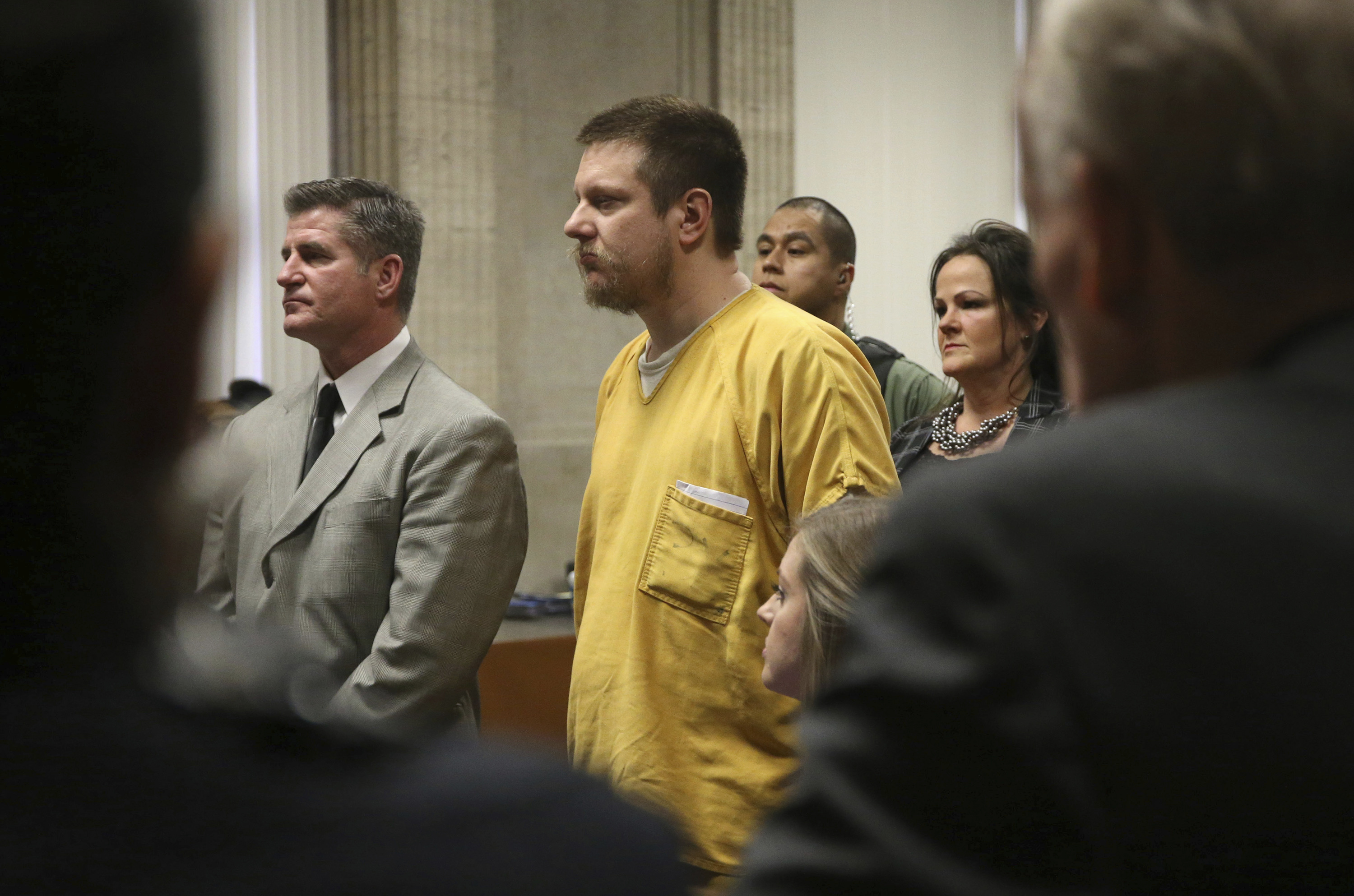 Former Chicago police Officer Jason Van Dyke and his attorney Daniel Herbert attend Van Dyke's sentencing hearing at the Leighton Criminal Court Building Friday, Jan. 18, 2019 in Chicago.(Antonio Perez/ Chicago Tribune via AP, Pool)