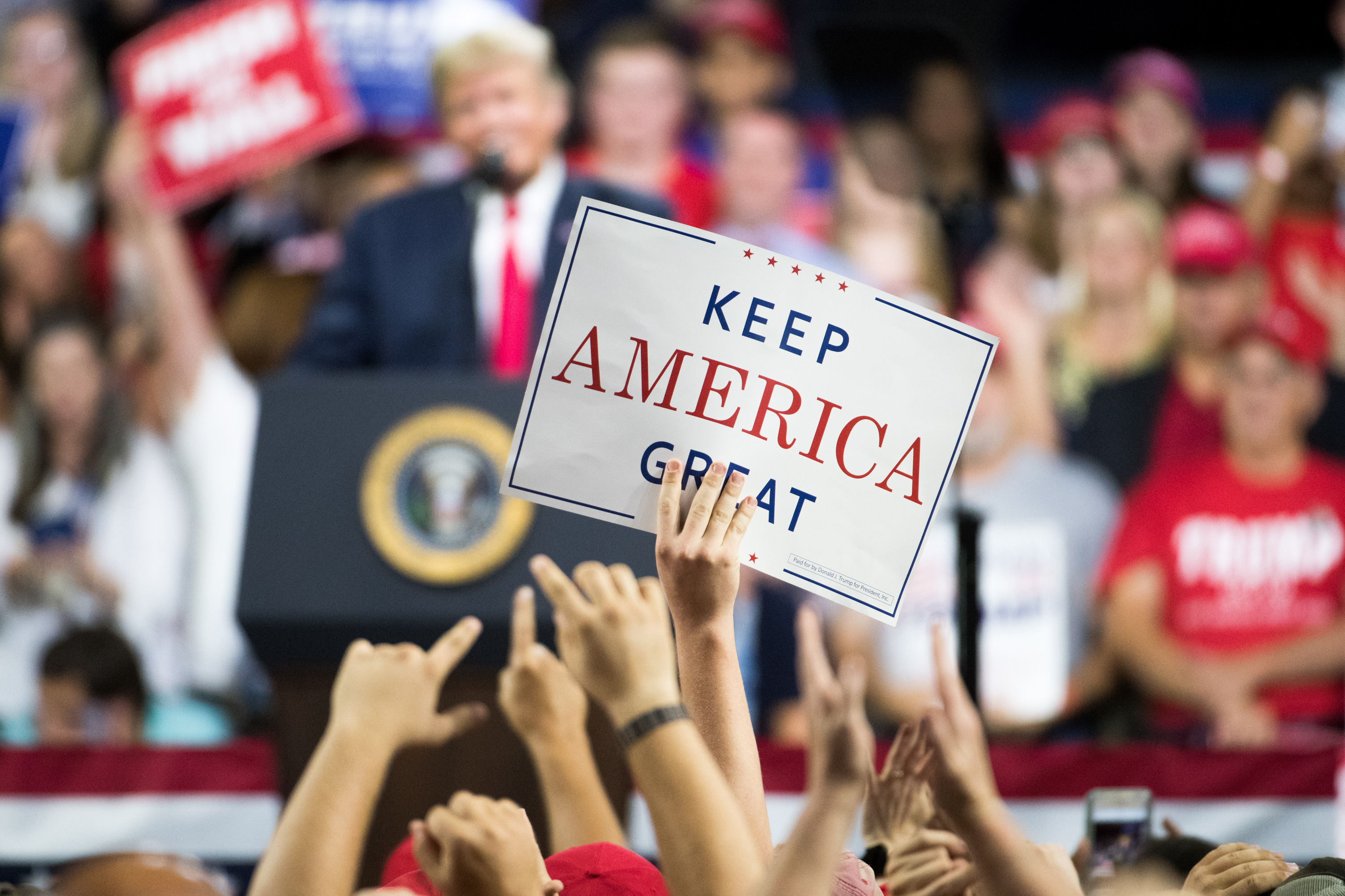 JOHNSON CITY, TN - OCTOBER 01: President Donald Trump speaks to the crowd during a campaign rally at Freedom Hall on October 1, 2018 in Johnson City, Tennessee. President Trump held the rally to support Republican senate candidate Marsha Blackburn. (Photo by Sean Rayford/Getty Images)