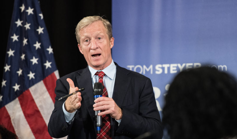 CHARLESTON, SC - DECEMBER 04: Anti-Trump Billionaire Tom Steyer hosts a town hall meeting on December 4, 2018 in Charleston, South Carolina. Steyer, founder of NextGen America and Need to Impeach, is testing the waters for a 2020 presidential run. (Photo by Sean Rayford/Getty Images)