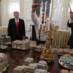 January 14, 2019 - Washington, DC, United States President Donald J. Trump presents fast food to be served to the Clemson Tigers to celebrate their Championship at the White House. (Chris Kleponis / Polaris)