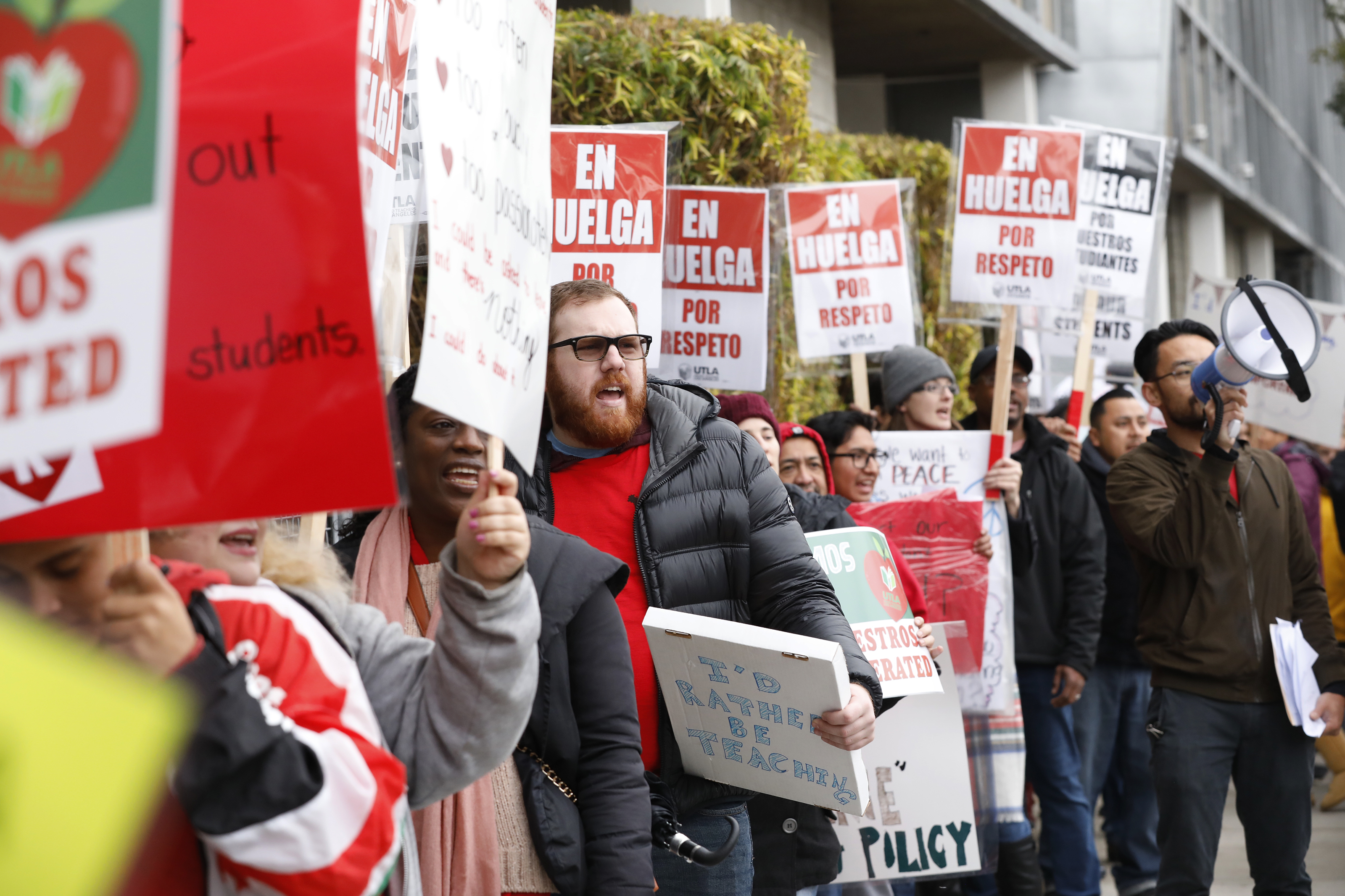 LOS ANGELES, CA - JANUARY 15, 2019  Teachers at The Accelerated Schools, a community of public charter schools in South Los Angeles picket outside the school on second day of the Los Angeles school teachers strike January 15, 2019. (Al Seib / Los Angeles Times)