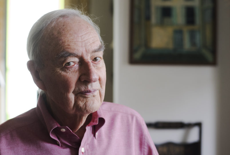 WASHINGTON, DC - APRIL 25:Former U.S. Senator Harris Wofford, 90, is getting married next Saturday to Matthew Charlton, age 40. He is photographed in his condominium in Washington, D.C. on April 25, 2016. Former U.S. Senator Harris Wofford, 90, served as President of Bryn Mawr College and President JFK's special assistant on civil rights. He is getting married next Saturday to Matthew Charlton, age 40. In Sunday's New York Times Week in Review, Wofford wrote of being in love twice in his life, to his late wife Clare of half century, and to Charlton, his companion of 15 years.(Photo by Marvin Joseph/The Washington Post)