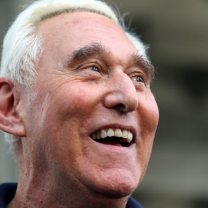 Roger Stone, after his release, outside the Federal Courthouse in Fort Lauderdale on Friday, Jan. 25, 2019. (Amy Beth Bennett/South Florida Sun Sentinel/TNS)