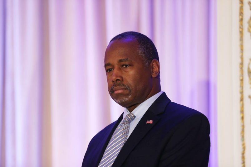 PALM BEACH, FL - MARCH 11:  Former Republican presidential candidate Ben Carson gives his endorsement to Republican presidential candidate Donald Trump during a press conference at the Mar-A-Lago Club on March 11, 2016 in Palm Beach, Florida. Presidential candidates continue to campaign before Florida's March 15th primary day.  (Photo by Joe Raedle/Getty Images)