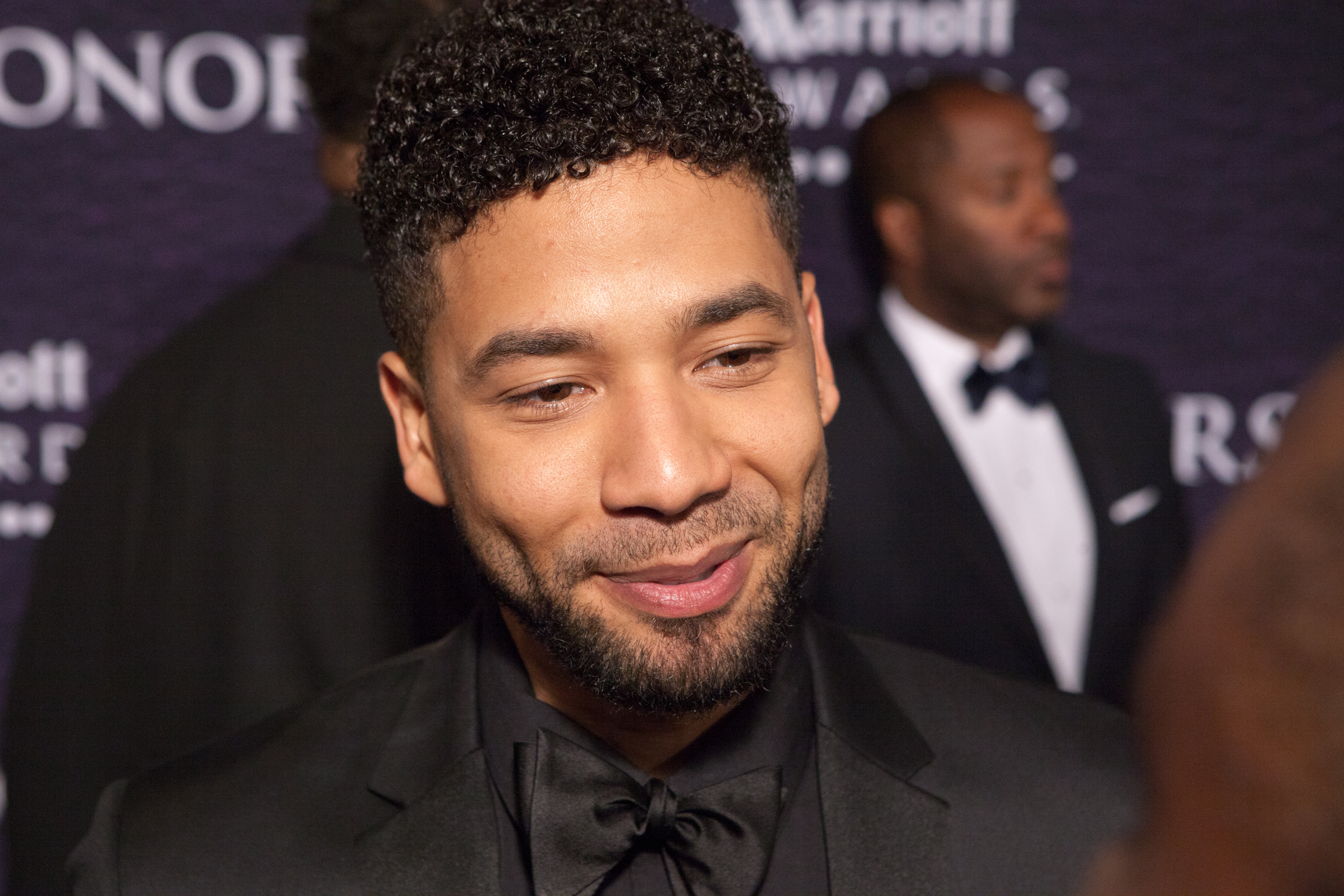 """WASHINGTON, D.C. — On Saturday, March 5 at the Warner Theater, performer and one of the stars of """"Empire"""" Jussie Smollett, on the red carpet for BET Honors.  (Photo by Cheriss May/NurPhoto)"""