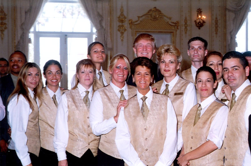 Donald Trump poses with Mar A Lago staff on Mother's Day, Palm Beach, Florida, May 14, 2006. (Photo by Davidoff Studios/Getty Images)
