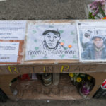HELL'S KITCHEN, NEW YORK, UNITED STATES - 2017/04/03: A makeshift shrine to Timothy Caughman who was killed in an alleged bias attack by James Harris Jackson on March 20th, 2017 is seen on the Southeast corner of West 36th Street near where Mr. Caughman resided and was slain. (Photo by Albin Lohr-Jones/Pacific Press/LightRocket via Getty Images)