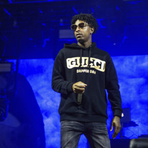 21 Savage performs at the Voodoo Music Experience in City Park on Sunday, Oct. 28, 2018, in New Orleans. (Photo by Amy Harris/Invision/AP)