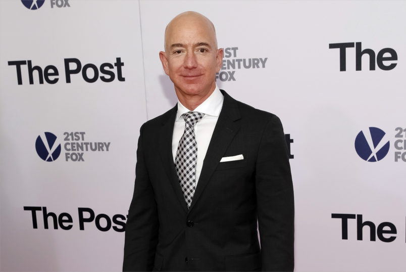 """Amazon CEO Jeff Bezos attends the premiere of """"The Post"""" at The Newseum on Thursday, Dec. 14, 2017, in Washington. (Photo by Brent N. Clarke/Invision/AP)"""