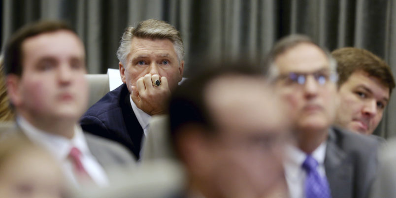 Mark Harris listens to the public evidentiary hearing on the 9th Congressional District investigation Monday morning, Feb. 18, 2019, at the North Carolina State Bar in Raleigh.