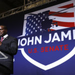 DETROIT, MI - AUGUST 7: John James, Michigan GOP Senate candidate, speaks at an election night event after winning his primary election at his business James Group International  August 7th, 2018 in Detroit, Michigan. James, who has President Donald Trump's endorsement, will face Democrat incumbent Senator Debbie Stabenow (D-MI) in November. (Photo by Bill Pugliano/Getty Images)