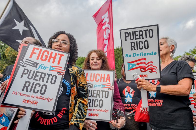 UNION SQUARE, NEW YORK, UNITED STATES - 2018/09/20: On the one year anniversary of Hurricane Maria, hundreds gathered in Union Square demanding justice for Puerto Rico. Many Puerto Ricans are still struggling for survival and fighting to remain, reclaim, and rebuild. (Photo by Erik McGregor/Pacific Press/LightRocket via Getty Images)