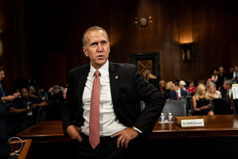 SEPTEMBER 27, 2018 - WASHINGTON, DC: Senator Thom Tillis before the hearing. Judge Brett M. Kavanaugh testified in front of the Senate Judiciary committee regarding sexual assault allegations at the Dirksen Senate Office Building on Capitol Hill Thursday, September 27, 2018. (Pool photo by Erin Schaff for The New York Times) NYTSCOTUS