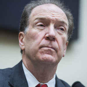 """UNITED STATES - DECEMBER 12: ??????????????David R. Malpass, under secretary for International Affairs at the U.S. Department of the Treasury, testifies at a House Financial Services Subcommittee on Monetary Policy and Trade hearing titled """"Evaluating the Effectiveness of the International Financial Institutions,"""" in Rayburn Building on December 12, 2018. (Photo By Tom Williams/CQ Roll Call)"""