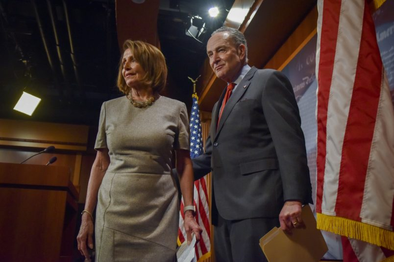 WASHINGTON, DC - JANUARY 25:Speaker of the House Nancy Pelosi (D-CA) and Senate Leader Chuck Schumer address the media in the Senate Radio/TV Gallery at the United States Capitol after Donald Trump agreed to end the partial federal government shutdown on Friday, January 25, 2019, in Washington, DC. The day also marks the second consecutive payday when some federal employees have missed getting a pay check. (Photo by Jahi Chikwendiu/The Washington Post)