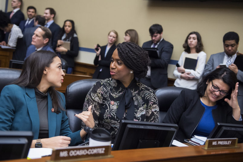 UNITED STATES - JANUARY 29: From left, Reps. Alexandria Ocasio-Cortez, D-N.Y., Ayanna Pressley, D-Mass., and Rashida Tlaib, D-Mich., attend a House Oversight and Reform Committee business meeting in Rayburn Building on Tuesday, January 29, 2019. (Photo By Tom Williams/CQ Roll Call)