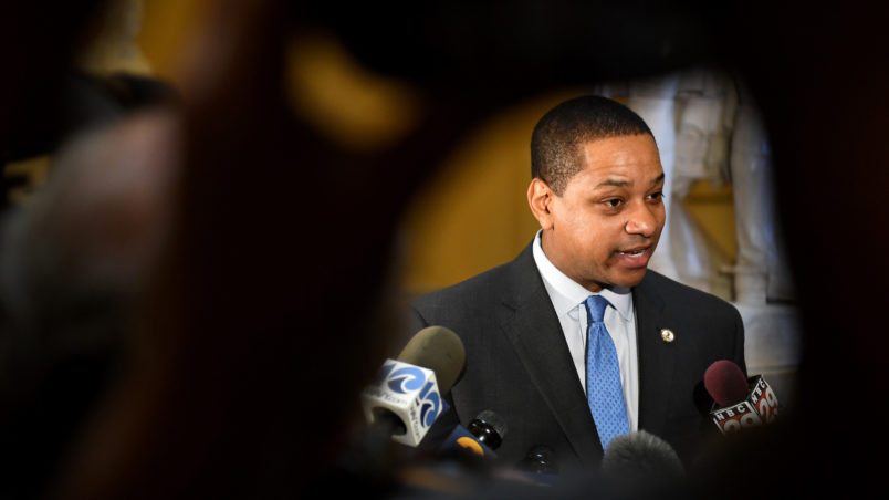 RICHMOND, VA - FEBRUARY 4: Virginia Lt. Gov. Justin Fairfax (D) talks with the press to address and deny a sex assault allegation from 2004 in the State Capitol February 04, 2019 in Richmond, VA. He denies . (Photo by Katherine Frey/The Washington Post)