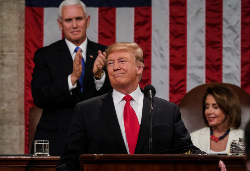 FEBRUARY 5, 2019 - WASHINGTON, DC: President Donald Trump delivered the State of the Union address, with Vice President Mike Pence and Speaker of the House Nancy Pelosi, at the Capitol in Washington, DC on February 5, 2019. (Doug Mills/The New York Times POOL PHOTO) NYTSOTU