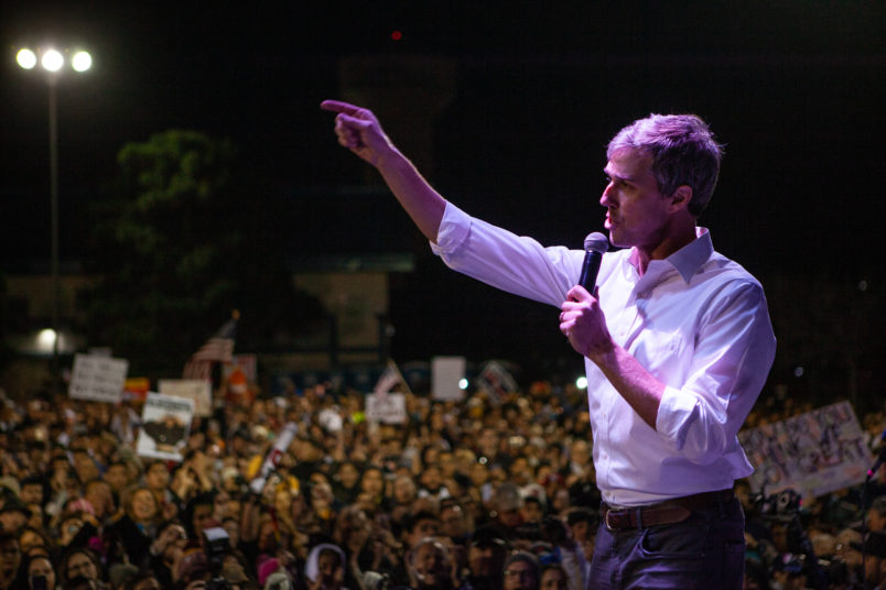 EL PASO, TX - FEBRUARY 11: Beto O'Rourke speaks to the six thousand people that showed up to protest Trumps wall and rhetoric about El Paso. Local El Paso leaders along with Border Network for Human Rights and the Womens March El Paso oraganized the event to counter Trumps rally in El Paso, TX  February 11, 2019 in El Paso, Texas. (Photo by Christ Chavez/Getty Images)