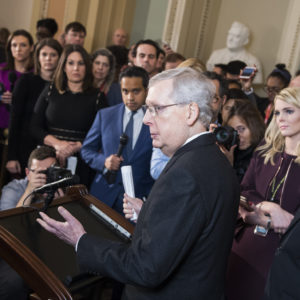 UNITED STATES - FEBRUARY 12: Senate Majority Leader Mitch McConnell, R-Ky., conducts a news conference after the Senate Policy luncheons to discuss  bipartisan agreement reached on government spending and border security on Tuesday, February 12, 2019. (Photo By Tom Williams/CQ Roll Call)
