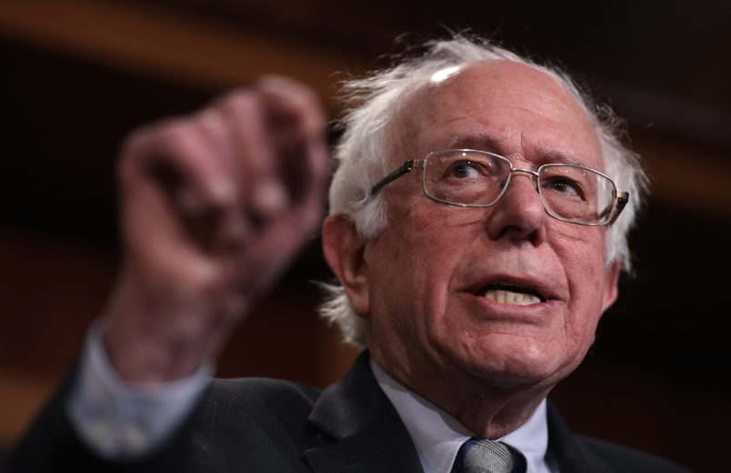 """WASHINGTON, DC - JANUARY 30:  Sen. Bernie Sanders (I-VT) speaks during a press conference at the U.S. Capitol January 30, 2019 in Washington, DC. Sanders and other members of the U.S. Senate and House of Representatives called for the reintroduction of a resolution """"to end U.S. support for the Saudi-led war in Yemen"""" during the press conference. (Photo by Win McNamee/Getty Images)"""