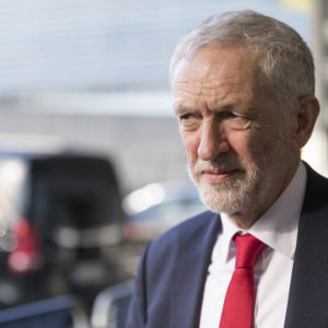 BRUSSELS, BELGIUM - FEBRUARY 21, 2019 : British Labour leader and Leader of the Opposition, Jeremy Corbyn is talking to media at the Berlaymont, the EU Commission headquarters on February 21, 2019 in Brussels, Belgium. Jeremy Corbyn and Labour's Brexit team just met the European Chief Negotiator for the United Kingdom Exiting the European Union Michel Barnier. (Photo by Thierry Monasse/Getty Images)