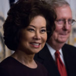 On Tuesday, January 31, (l-r) Elaine Chao after her swearing-in as the Transportation Secretary, with her husband Senator Mitch McConnell, in the Vice President's Ceremonial Office in the Eisenhower Executive Office Building of the White House. (Photo by Cheriss May/NurPhoto)