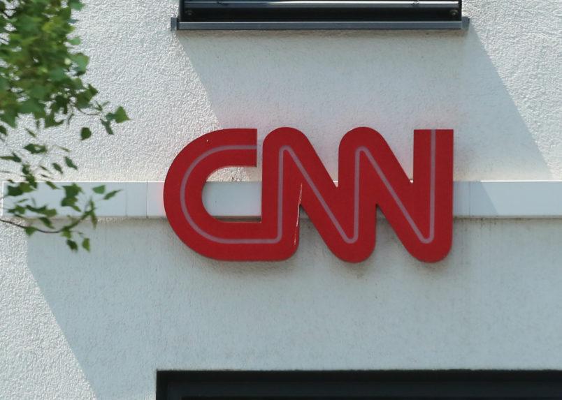 The logo of CNN is seen in Munich. (Photo by Alexander Pohl/NurPhoto)