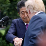 U.S. President Donald Trump and Japanese Prime Minister Shinzo Abe hold a joint news conference in the Rose Garden at the White House June 7, 2018 in Washington, DC. Trump and Abe discussed the upcoming U.S.-North Korea summit.