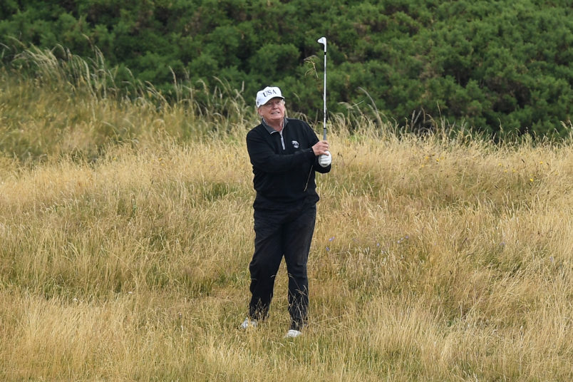 U.S. President Donald Trump plays a round of golf at Trump Turnberry Luxury Collection Resortduring the U.S. President's first official visit to the United Kingdom