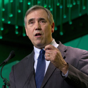 EMBARGOED - RELEASE AT 6:15 AM EST TUESDAY, MARCH 5        FILE - In this Jan. 24, 2019 file photo Sen. Jeff Merkley, D-Ore., speaks during the U.S. Conference of Mayors meeting in Washington. Merkley announced Tuesday, March 5, 2019 that he would not seek his party's 2020 presidential nomination but will focus on his Senate re-election. (AP Photo/Jose Luis Magana, File)