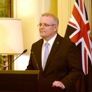 Scott Morrison is sworn in by Australia's Governor-General Sir Peter Cosgrove as Australia's 30th Prime Minister at Government House on August 24, 2018 in Canberra, Australia.