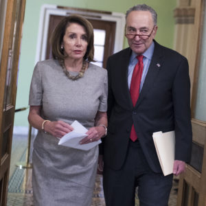 UNITED STATES - JANUARY 25: Speaker Nancy Pelosi, D-Calif., and Senate Minority Leader Charles Schumer, D-N.Y., arrive for a new conference in the Capitol about a continuing resolution to re-open the government on Friday, January 25, 2019. (Photo By Tom Williams/CQ Roll Call)