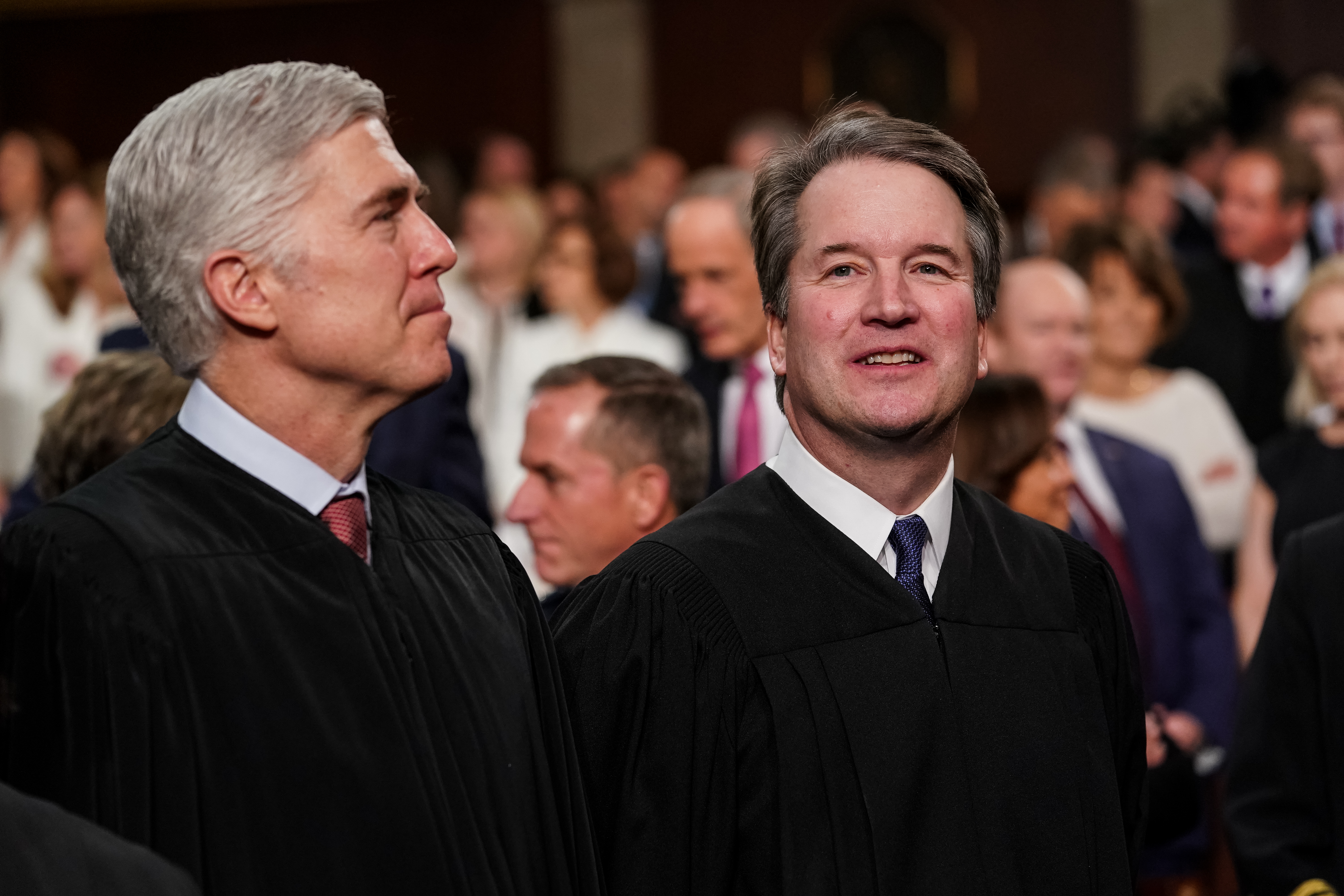 FEBRUARY 5, 2019 - WASHINGTON, DC: Supreme Court  Neil Gorsuch, left, and Brett Kavanaugh at the Capitol in Washington, DC on February 5, 2019. (Doug Mills/The New York Times POOL PHOTO) NYTSOTU