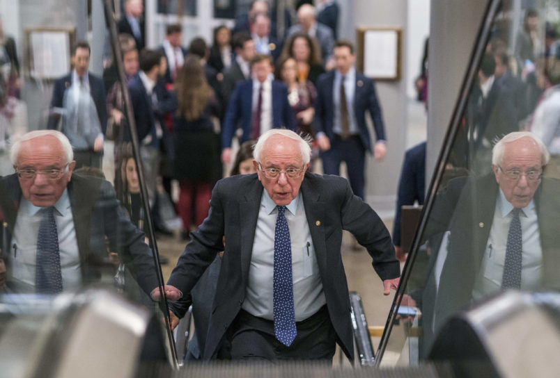 WASHINGTON DC- FEBRUARY 14 Senator Bernie Sanders briefly speaks to reporters about the released border security conference committee report which would prevent another government shutdown to be possibly voted on today in the Senate on Capito