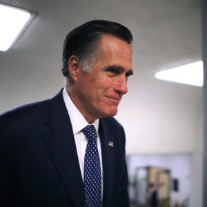 WASHINGTON, DC - MARCH 05: Sen. Mitt Romney (R-UT) heads to the U.S. Capitol for the weekly Republican policy luncheon March 05, 2019 in Washington, DC. With the support of at least four Republicans, the Senate seems poised to approve a resolution of disapproval on President Donald Trump's use of a national emergency declaration to secure the money he wants to build a border wall on the southern border. (Photo by Chip Somodevilla/Getty Images)