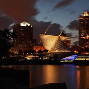 MILWAUKEE - SEPTEMBER 20:  Partial view of Milwaukee Skyline at night on September 20, 2014 in Milwaukee, Wisconsin. (Photo By Raymond Boyd/Getty Images)